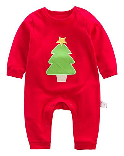 Kidsform Unisex Baby Christmas Print Costume Bodysuit Long Sleeve Footed Romper Onesie Onepiece Tree 12-18M