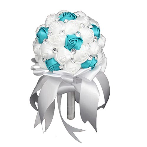 FAYBOX Crystal Satin Rose Bridal Bridesmaid Bouquets Wedding Flower Decor Turquoise -