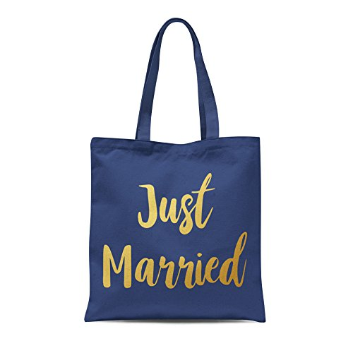 Gold Bag With Bride Married Party Wedding Groom Printed Honeymoon Print Gift Tote Shopping Navy Just ITqOCC