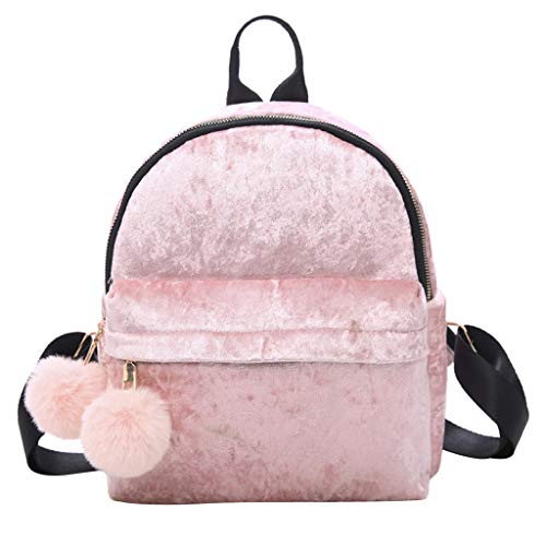 Women Girl Velour Backpack Hairball Solid Color Travel School Crossbody Bag