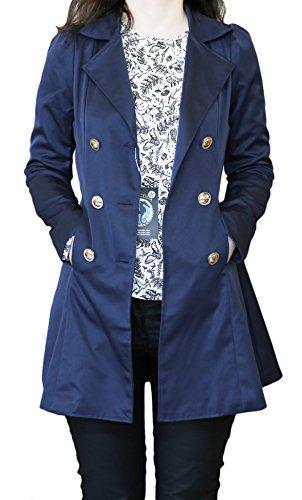 SODACODA Women`s Hourglass Trench Coat (XS-XL) Bleu Marine