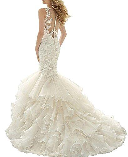 Changjie Prinzessin Elfenbein Neu Hochzeitskleid Meerjungfrau Damen Spitze Brautkleider Brautmode Applikation nqxrPHwn