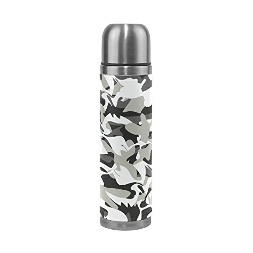 HangWang Dinosaur Camouflage Vacuum Insulated Stainless Steel Water Bottle Leak Proof Double Wall Construction Thermos Flask Genuine Leather Cover 17 Oz(500ml) (Flask Gsi Leather)