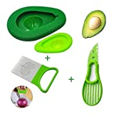 Sunnycows Kitchen Tools Set, 3-in-1 Avocado Slicer,Avocado Saver and Silicone Food Storage Holder,Free Gift Vegetable Slicer Not Just for Onion