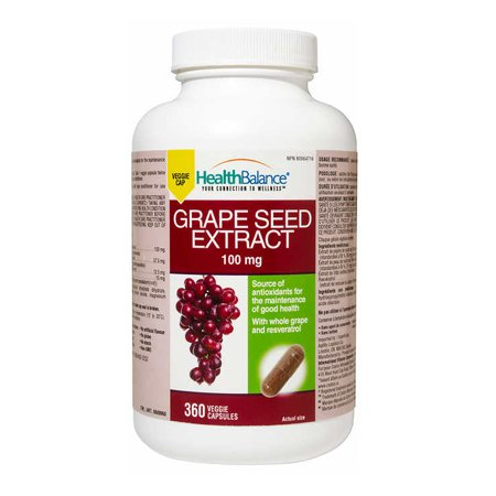 HealthBalance Grape Seed Extract, 100mg, 360 veggie cap (1) by HealthBalance