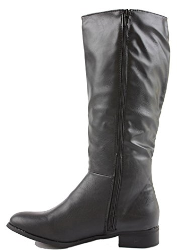 Boots Winter Size Black Low Heel Style Biker High Wide Style Leg Ladies Knee L Calf Flat FwqP4B