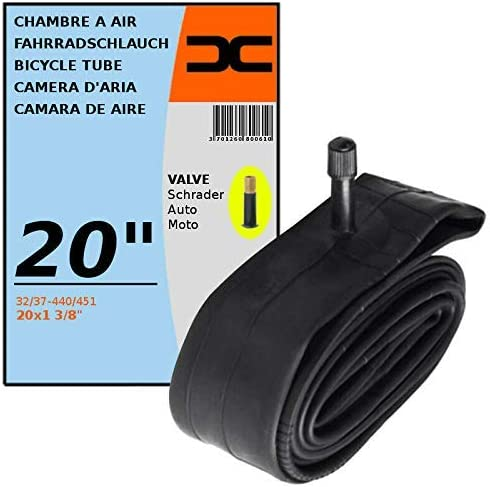 "BLACK STANDARD BICYCLE TUBE 20x1 3//8/"" SCHRADER VALVE"