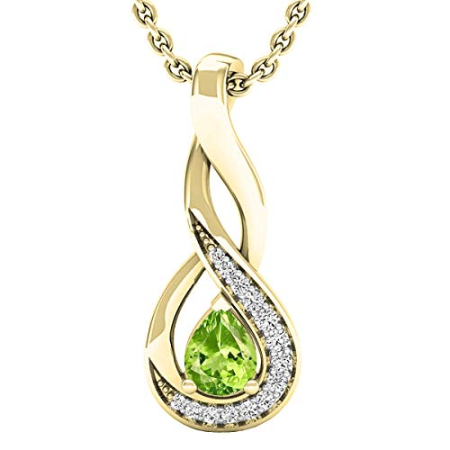 (Dazzlingrock Collection 18K 5X4 MM Pear Peridot & Round Diamond Ladies Pendant (Gold Chain Included), Yellow Gold)