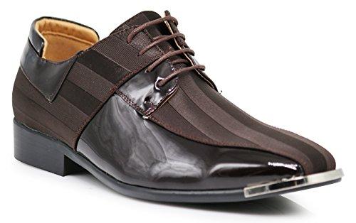 JY5N Men's Satin Metal Silver Tip Oxfords Tuxedo Dress Shoes Stripes Church Wedding Party Groomsmen Oxfords Dress Shoes (11 D(M) US, Brown) by Enzo Romeo