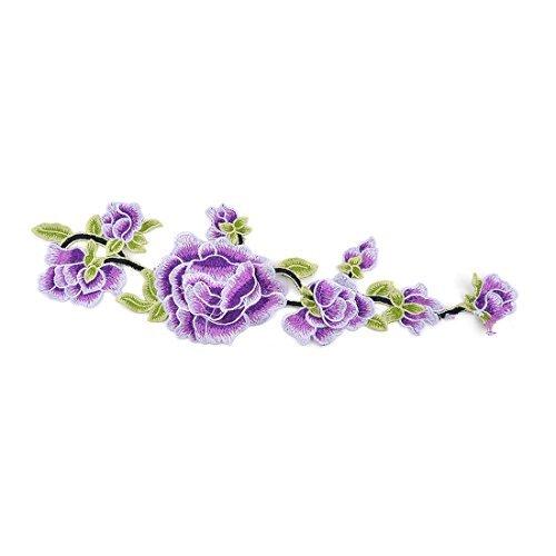 eDealMax Polyester Accueil Broderie de Fleurs bricolage Craft vtements Couture Dentelle Applique Patch Violet