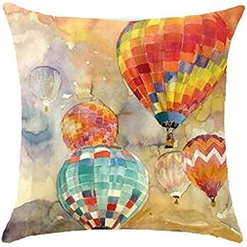 Oil Painting Series Hot Air Balloon Throw Pillow Case Cushion Cover Decorative Cotton Blend Linen Pillowcase for Sofa 18