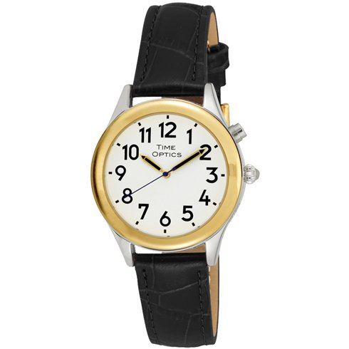 timeoptics-womens-talking-two-tone-day-date-alarm-leather-strap-watch