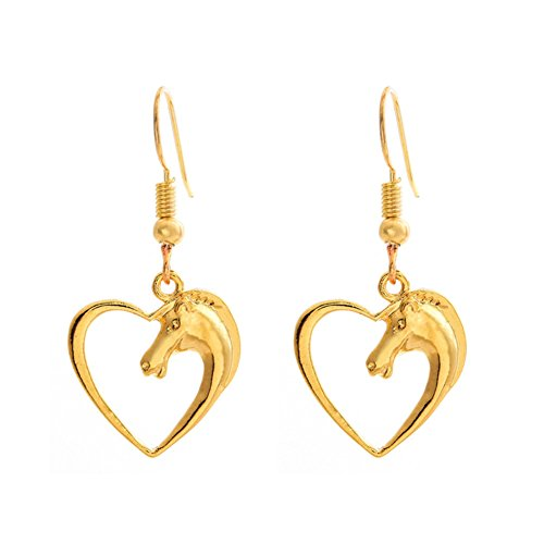 Sterling Silver Plated &18K Gold Plated Hollow Peach Heart Horse Head Charm Dangle Earring (Gold)