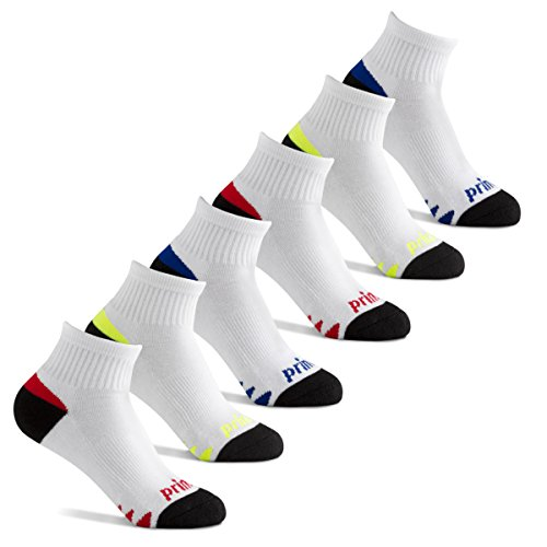 Prince Boys Quarter Athletic Socks for Active Kids (6 Pair Pack) (3-9 (Big Boys), White)