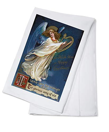 To Wish You a Happy Christmas - Angel with a Harp - Vintage Holiday Art (100% Cotton Kitchen Towel)