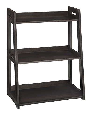 ClosetMaid 3312 No-Tool Assembly Ladder Shelf, Wide 3-Tier, Black Walnut (Library Shelves With Ladder)