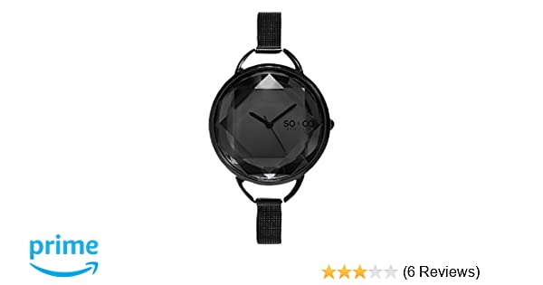 Amazon.com: SO&CO New York Womens 5104.3 SoHo Quartz Black Dial with Faceted Glass and Stainless Steel Mesh Bracelet Watch: Watches