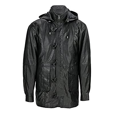 XPOSED Mens Vintage Black Real Leather Duffle 3/4 Length Long Toggle Button Jacket Detachable Hood Safari Coat
