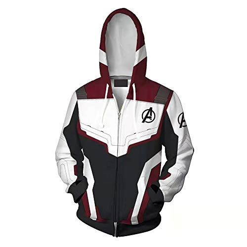 Unisex Cosplay Hoodie, Avenger's Endgame 3D Printed Quantum Zipper Sweatshirt Jacket for Halloween, Cosplay (M) Red