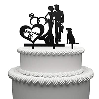 Mr and Mrs Cake Topper Acrylic Love Dog Wedding Cake Topper Funny Bride and Groom Cake Topper
