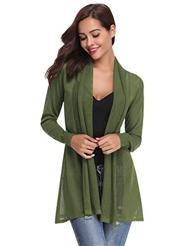 Abollria Womens Casual Long Sleeve Open Front Cardigan Sweater(Green,XXL)