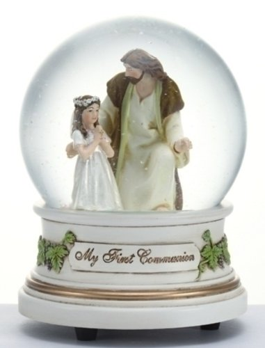 Little Girl with Jesus My First Holy Communion 100MM Glitter Water Globe Dome by Roman