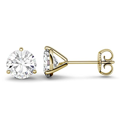 14K Yellow Gold Moissanite by Charles & Colvard 6.5mm Round Stud Earrings, 2.00cttw DEW