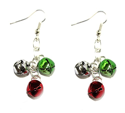 Christmas Jingle Bell Dangle Earrings Red Green and Silver