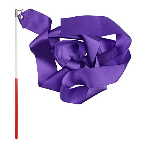 Shxstore Rhythmic Gymnastics Ribbon, Praise Dancing Streamers for Kids, Purple, 1 Set]()