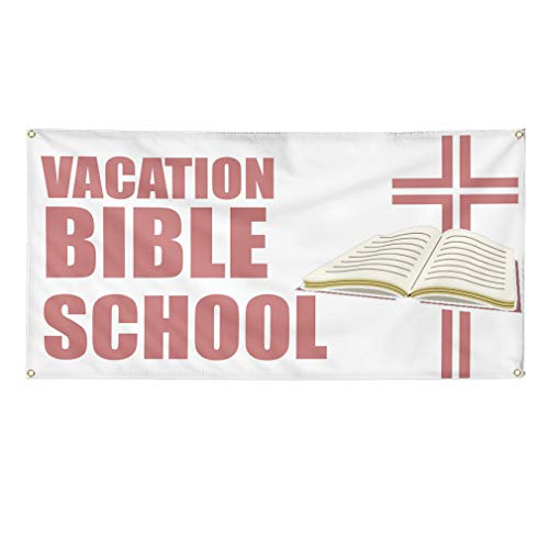 Vinyl Banner Sign Vacation Bible School Hobbies Outdoor Marketing Advertising White - 24inx36in (Multiple Sizes Available), 4 Grommets, One Banner
