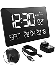Holife Alarm Clock, 【10 inches Extra Large】 Digital Calendar Day Clock LED Clock [Temperature Display] with Optional DST Time Mode Dual Alarms Gesture Control Desk/Wall Clock for Bedrooms
