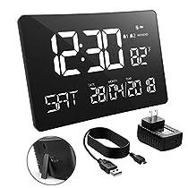 PICTEK 10Inch Extra Large Day Clock Calendar Digital Alarm Clock Home Audio & Kitchen Radio, Large Clock Black (HM252)
