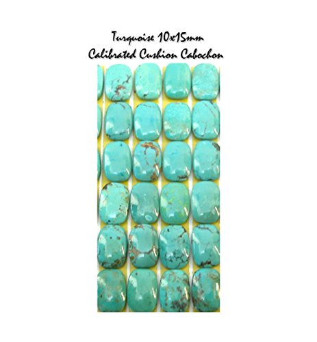 Genuine Natural Turquoise 10x15mm Cushion Cabochons for Jewelry Making (pkg of 2), - Turquoise Beads Imitation
