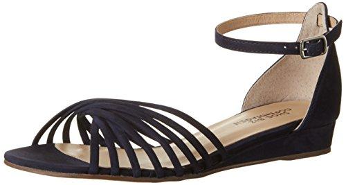 Shoe Biz Sandal Wedge, Sandalias con Cuña para Mujer Azul (Nubuk Navy)