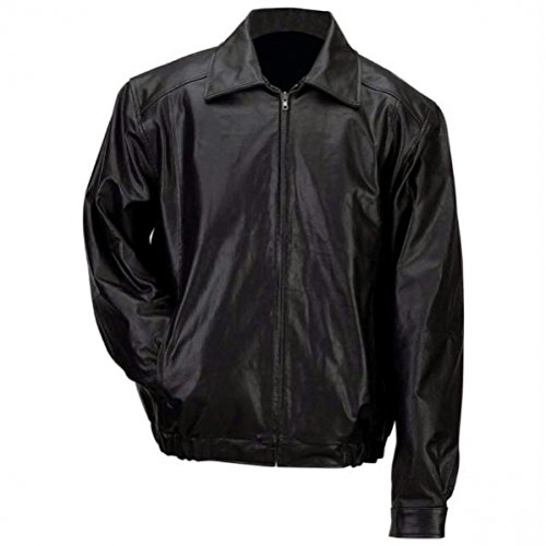 Leather Genuine Bomber Jacket - Gianni Collani Men's Solid Genuine Leather Bomber-Style Jacket 3X Black