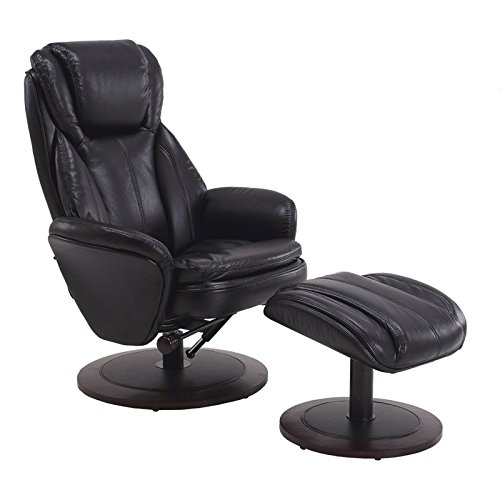 Pemberly Row Leather Swivel Recliner and Ottoman in Black Review