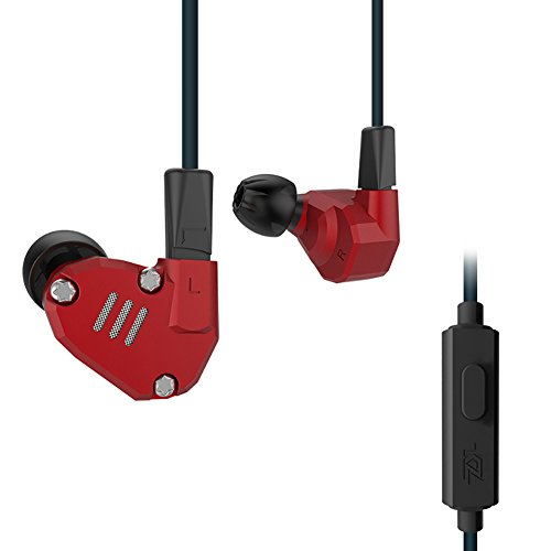 Quad Driver Headphones,ERJIGO KZ ZS6 High Fidelity Extra Bass Earbuds with Microphone,with Detachable Cable (Red with Mic)