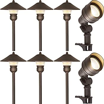 Hykolity 8 Pack Low Voltage LED Landscape Kits, 12V Pathway Flood Light Kits, 4.5W 205LM and 3W 150LM Wired for Outdoor Yard Lawn, Die-cast Aluminum, 30W and 30W Equivalent 15-Year Lifespan
