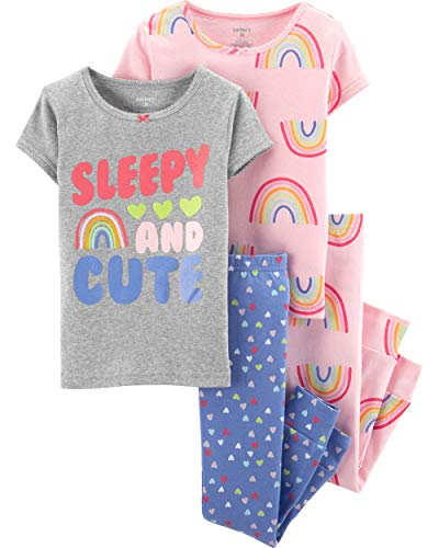 Carter's Toddler and Baby Girls' 4 Piece Cotton Pajama Set, Sleepy and Cute, 4T