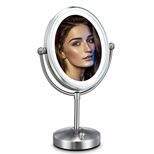 Professional 8'' Lighted Makeup Mirror, VESAUR Oval 7X Magnifying LED Vanity Mirror with 28 Dimmable SMDs (High as much as 1100lux), Pearl Nickel Cosmetic Mirror, Desk Lamp Night Light Alternative, 2 Sided