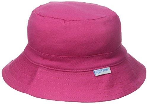 I play. Baby Organic Cotton Reversible Bucket Hat, Fuchsia/Light Pink, 9-18 Months
