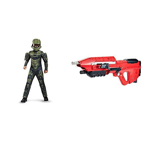 Master Chief Classic Costume, Large (10-12) with BOOMco DXD58 HALO UNSC MA5 Blaster -