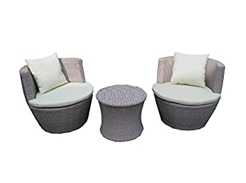 Rattan 3 Piece Garden Egg Sofa Set Set Includes 2 Chairs And Table
