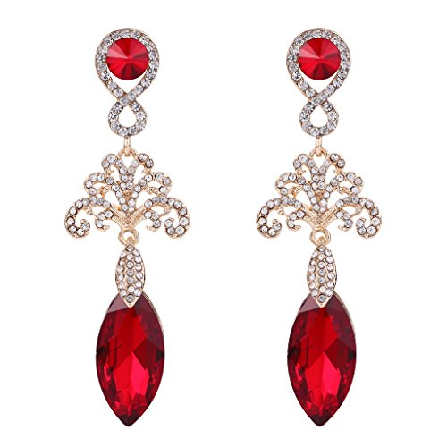 BriLove Women's Wedding Bridal Crystal Hollow Floral Infinity Marquise Chandelier Dangle Earrings Gold-Toned Ruby Color ()