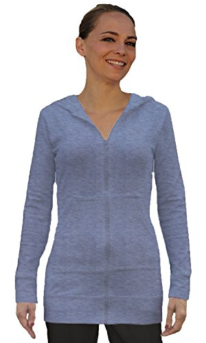 OOH LA LA LONG HOODIE JACKET (LARGE, HEATHER GREY) (Featherweight Long Cardigan)