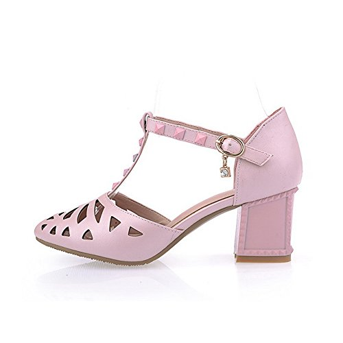 Kitten AmoonyFashion Pink Heels Toe Closed Material Soft Sandals Solid Womens Buckle PPrxvw5