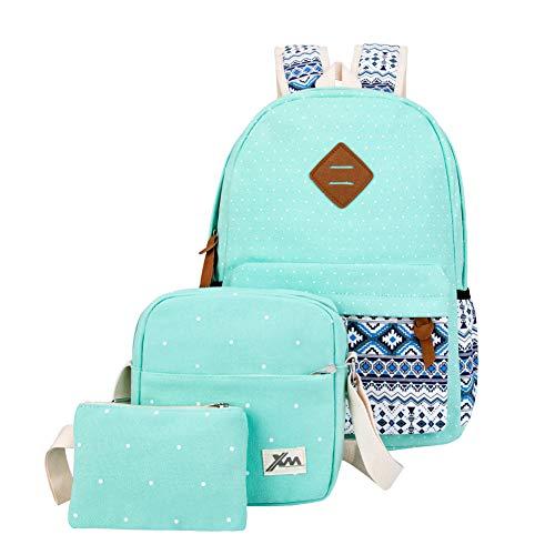 Canvas School Backpack 3 Set Bookbag Polka Dot Turquoise Green ()