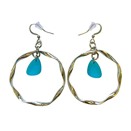 Light Blue Sea Glass Earrings Small 0.5 inch in Metal Ring Ocean Coast Hawaiian Foam Beach Prime Handmade Nautical Fashion Mermaid Tears Jewelry for Women and Girls gift Under 20 Dollars