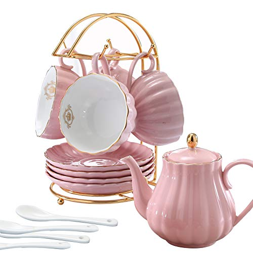 (YoungQI Porcelain Tea Coffee Sets with Teapot Teaspoons 8 OZ Cups & Saucer Service for 4 (Pink set for 4))