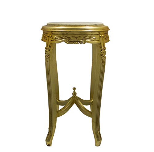 Italux Baroque Table Gold Leaf Louis XVI Style with Beige Travertine Marble Diameter 40 cm Height 70 ' ()